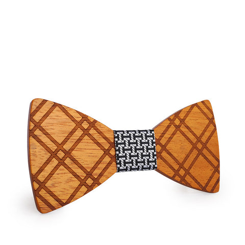 trendy carved lattice pattern wooden butterfly bow tie for men