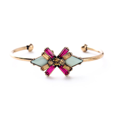 crystal flower charm open cuff bracelet for women