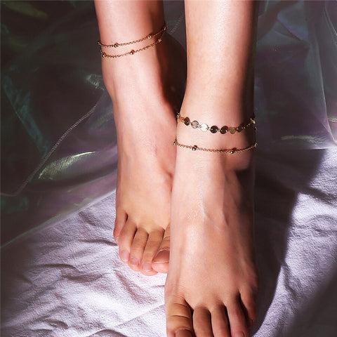 trendy gold color multilayer chain sequins anklet for women