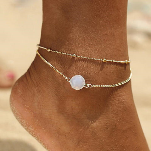 trendy golden chain with natural stone charm anklet for women