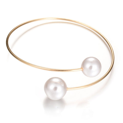 simple double simulated pearl open cuff bracelet