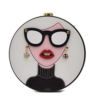cute cartoon lady pattern round clutch shoulder bag for women