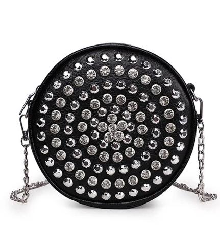 retro rhinestone crystal bedded round shoulder bag for women