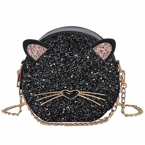 cute glittery cat shaped round shoulder bag for women