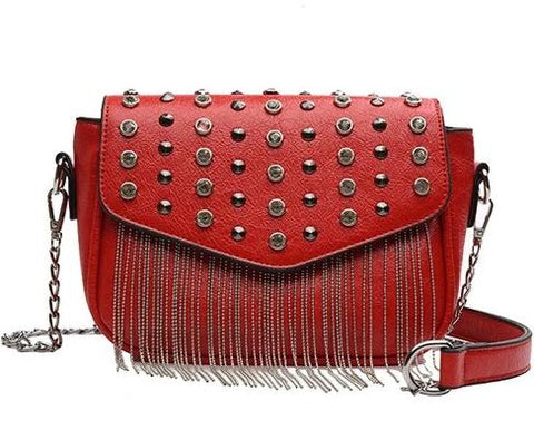 trendy metal chain tassel & crystal leather shoulder bag for women