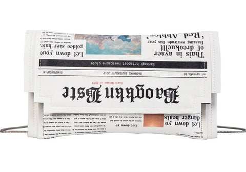 cute newspaper print design clutch shoulder bag for women