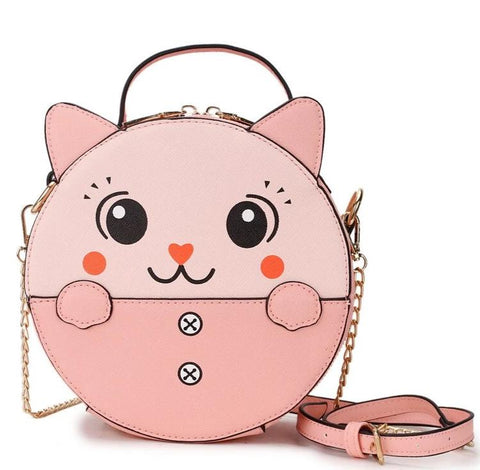 cute cartoon cat print pu leather round shoulder bag for women