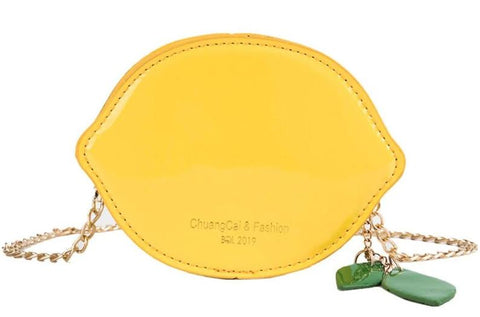 cute lemon shaped leather mini chain shoulder bag for women