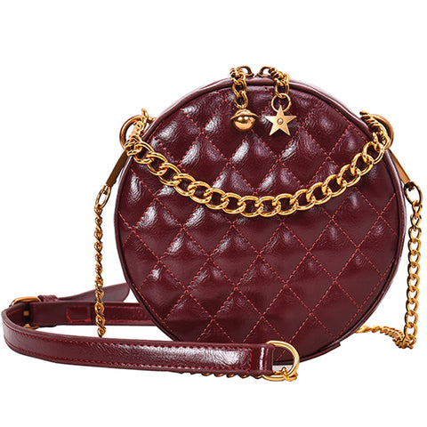 elegant lattice shape leather round shoulder bag for women