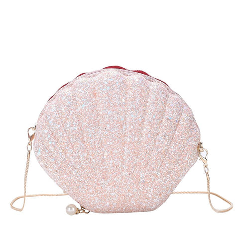 cute glittery sequined shell shaped shoulder bag for women