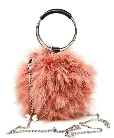 cute furry with metal handle evening hand bag for women