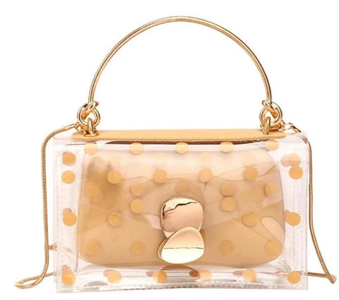 trendy dotted transparent messenger hand bag for women