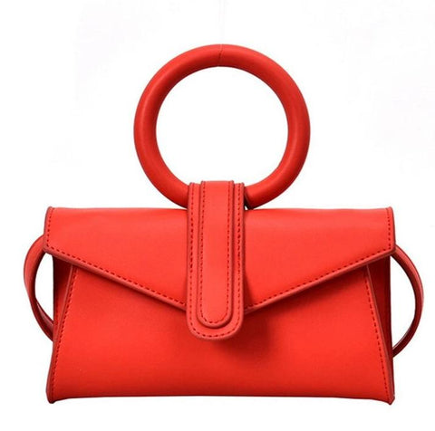 trendy round handle leather evening shoulder bag for women