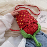 cute strawberry shape woven rattan shoulder bag for women