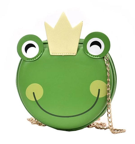 cute frog with crown shaped leather shoulder bag for women