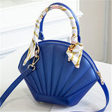 trendy shiny shell shaped tote shoulder hand bag for women
