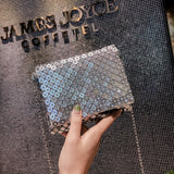 trendy shiny sequins evening shoulder hand bag for women