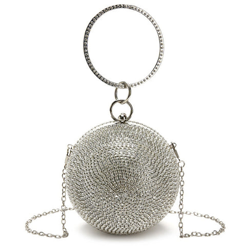 luxury full crystal ball shaped clutch evening bag for women