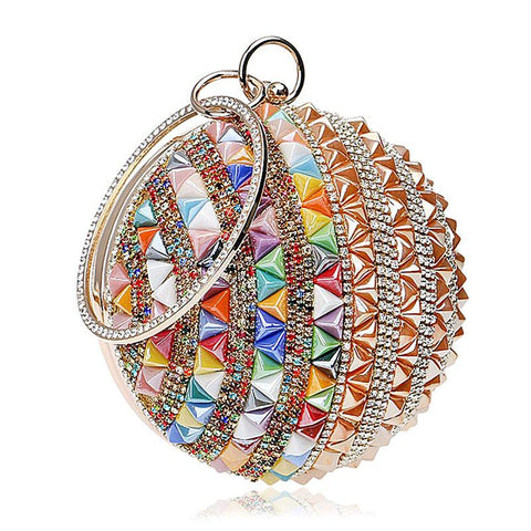 luxury colorful rhinestone crystal round evening bag for women