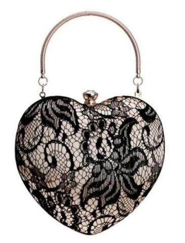 romantic lace heart shaped evening hand bag for women