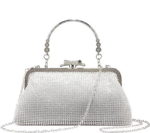 luxury full paved crystal clutch evening shoulder bag for women
