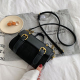 vintage small leather & metal chain shoulder hand bag for women