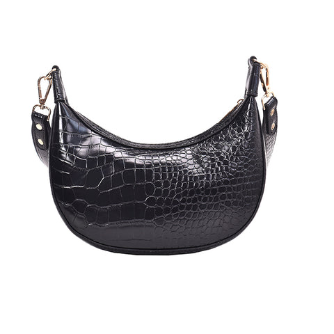 vintage crocodile pattern leather shoulder bag for women