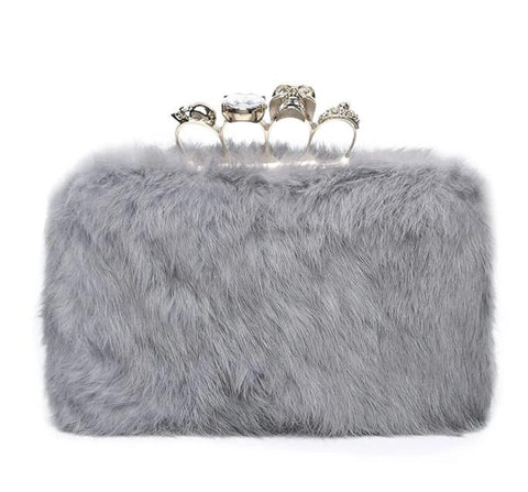 cute furry with crystal handle evening shoulder bag for women