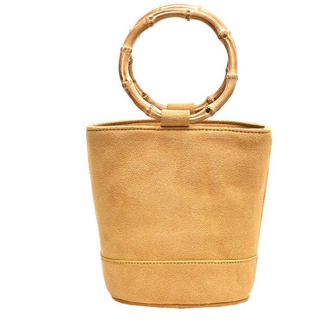 vintage leather & round bamboo handle tote hand bag for women