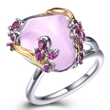 trendy big pink stone cubic zircon ring for women