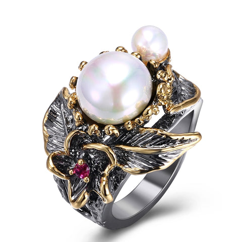 trendy colorful stone with pearls black gold color ring for women