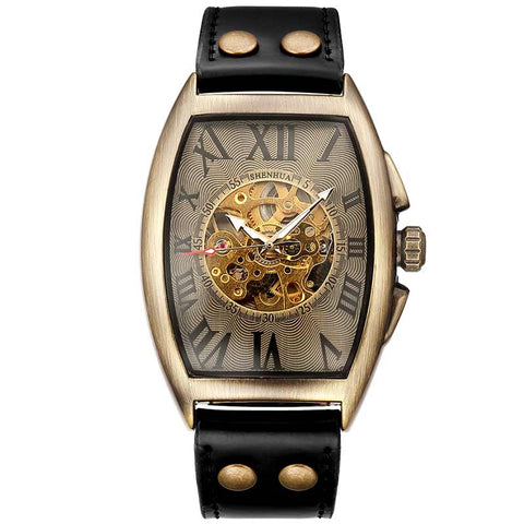 elegant skeleton dial self winding leather wrist watch for men