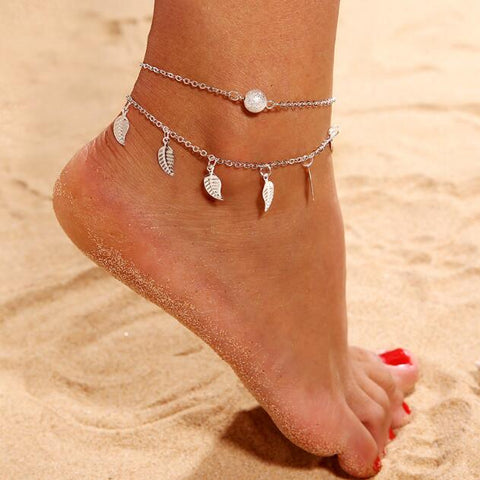 trendy gold/silver color leaf charm anklet for women