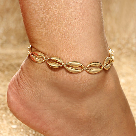 trendy gold color metal sea shell pendant anklet for women