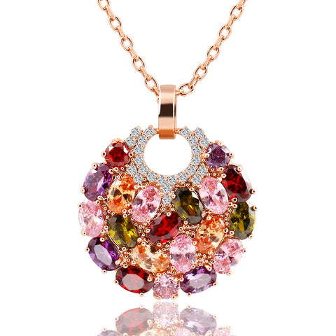 colorful flower round crystal pendant necklace for women