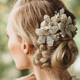 luxury pearl & crystal charm hair head band for women