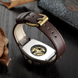 cool skeleton rectangle dial leather watch for men
