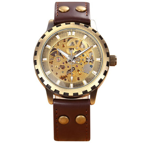 steampunk mechanical skeleton leather band wrist watch for men