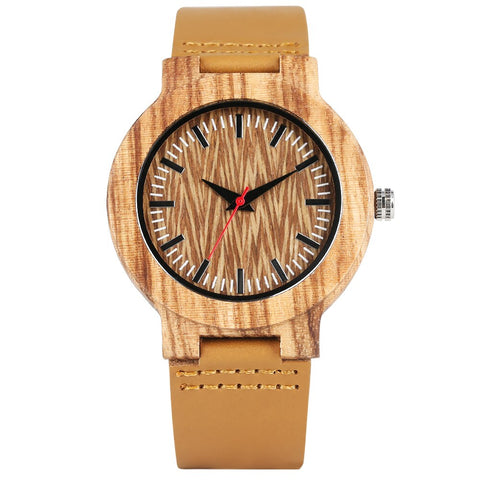 trendy wooden case quartz leather band wrist watch for men