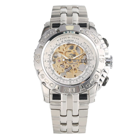 sport stainless steel skeleton mechanical dial watch for men