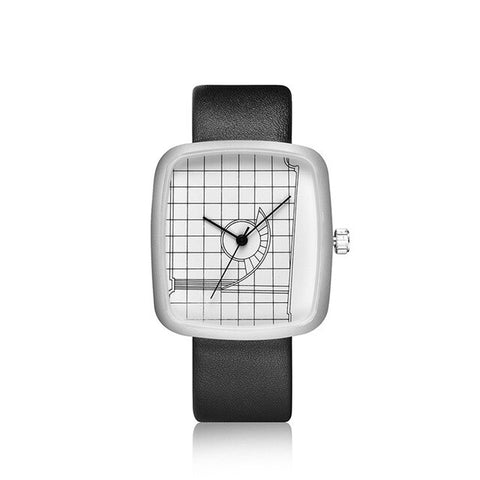 trendy geometric pattern square dial leather wrist watch