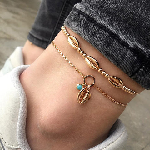 2 pc trendy gold color shell design anklet for women