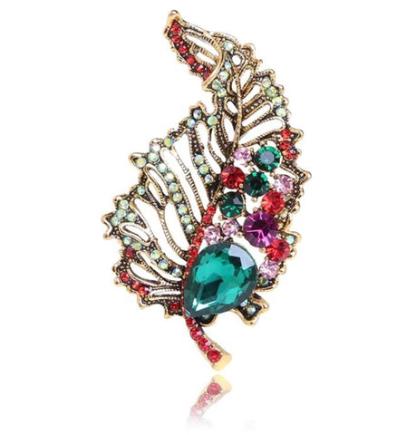 trendy colorful crystal hollow leaf shaped brooch pin for women