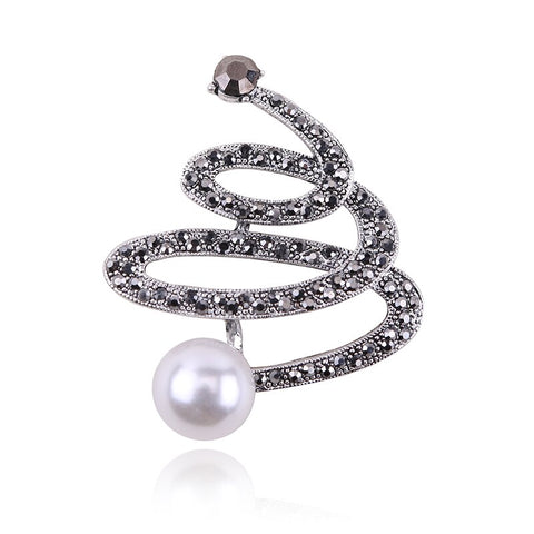 elegant spiral shape imitation pearl & crystal brooch pin