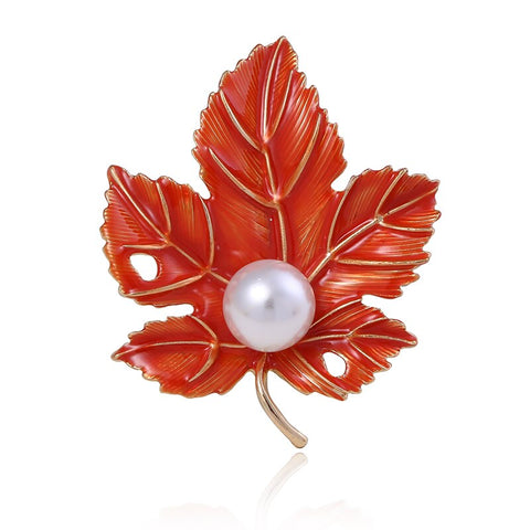 trendy maple leaf whir imitation pearl brooch pin