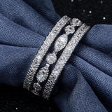 elegant micro paved white zircon crystal ring for women