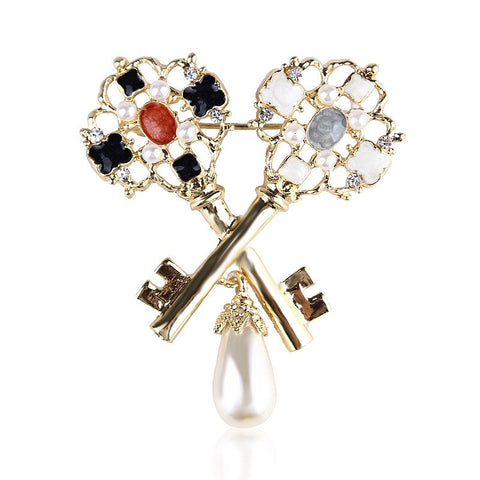 elegant crystal & imitation pearl dual key shaped brooch pin