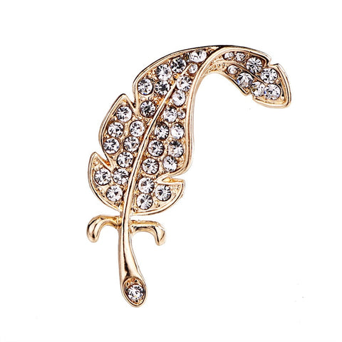 elegant full rhinestone feather shaped brooch pin