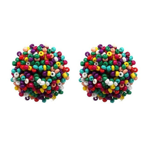 boho multicolor round cluster beads stud earrings for women