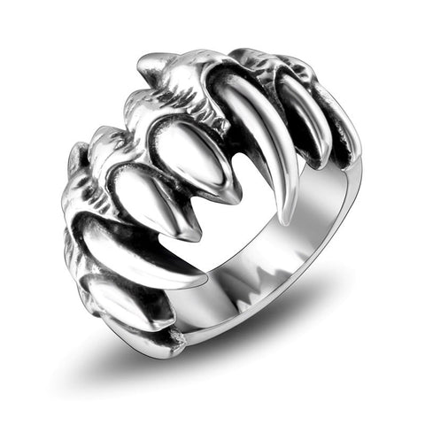 cool stainless steel monster teeth shaped ring for men